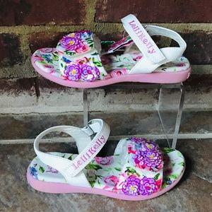 NEW Lelli Kelly White Flower Sequin Sandals Sz 12